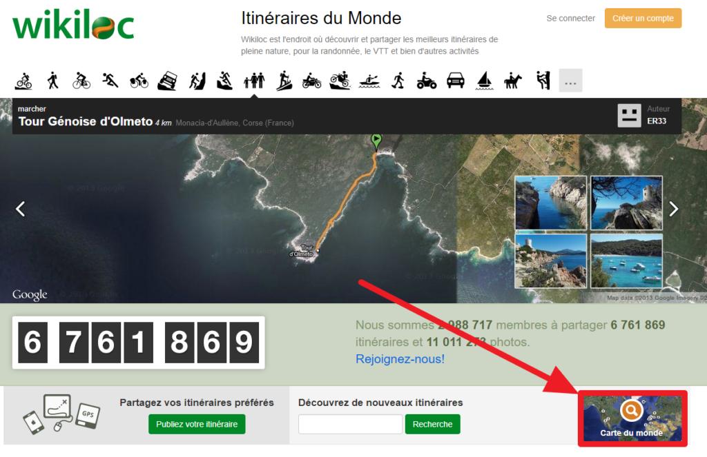 Capture d'écran du site web Wikiloc, bouton carte du monde.
