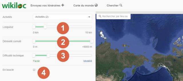 Capture d'écran du site Wikiloc, filtres.
