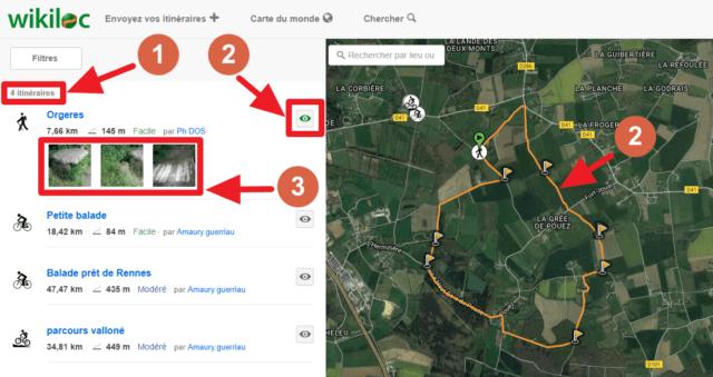 Capture d'écran du site Wikiloc, liste itinéraires.