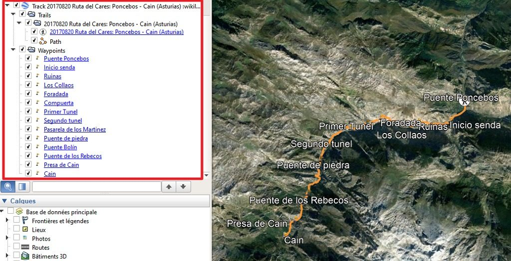 Capture d'écran de l'application Google Earth montrant un fichier Wikiloc ouvert.