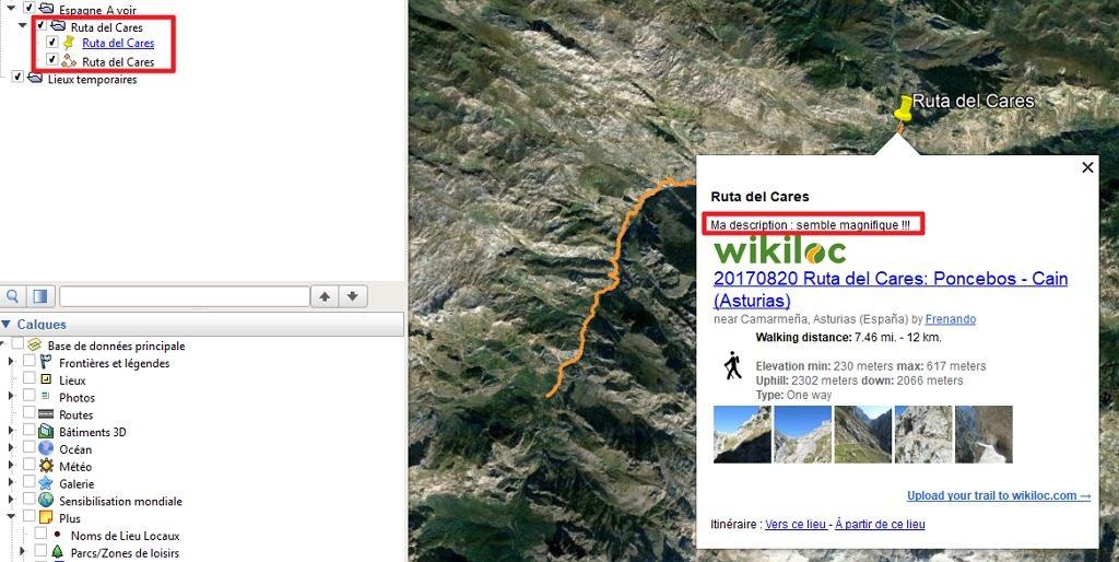 Capture d'écran de l'application Google Earth avec fichier Wikiloc ouvert et nettoyé.