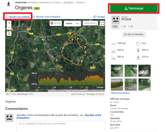 Capture d'écran du site Wikiloc, fiche itinéraire.
