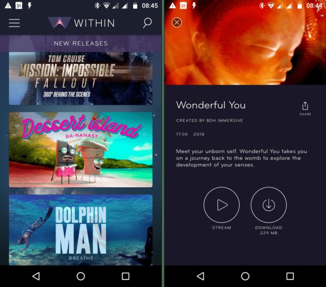 Capture d'écran de l'application Android WITHIN qui permets de regarder des vidéos en réalité virtuelle