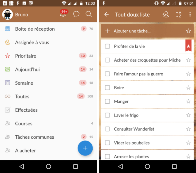 Capture d'écran de l'application Wunderlist